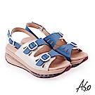 A.S.O 超能力 金箔亮麗皮革雙扣奈米鞋墊休閒涼鞋 藍