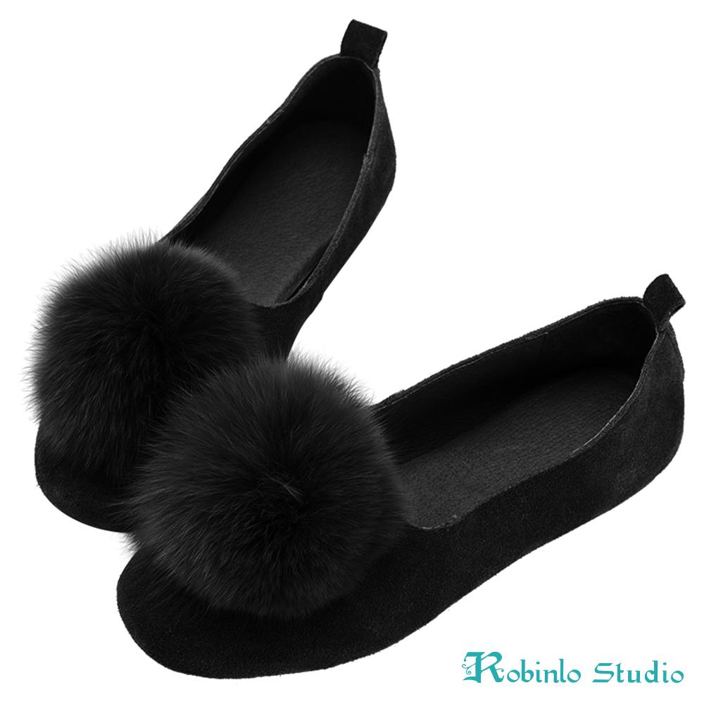 Robinlo 大地色毛絨球球娃娃鞋 黑