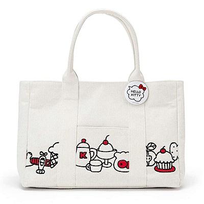 Sanrio HELLO KITTY溫情貼心系列燈芯絨刺繡鑲飾手提包