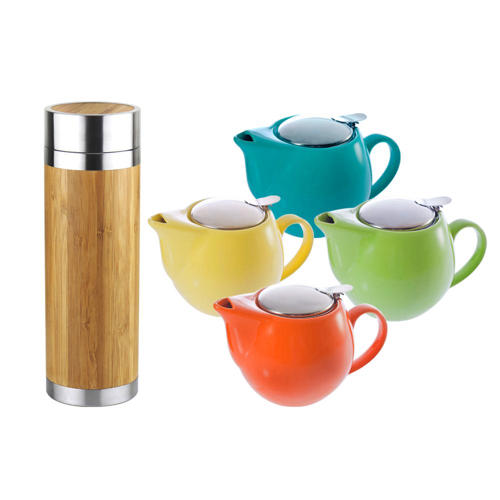 WOKY沃廚 316不鏽鋼和風竹雅真空保溫瓶300ML附濾茶網+陶瓷壺500ML