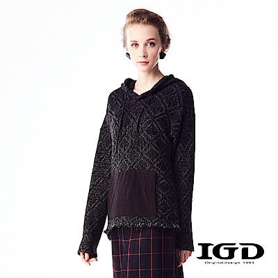 IGD英格麗 菱形格紋針織羊毛連帽上衣-黑色