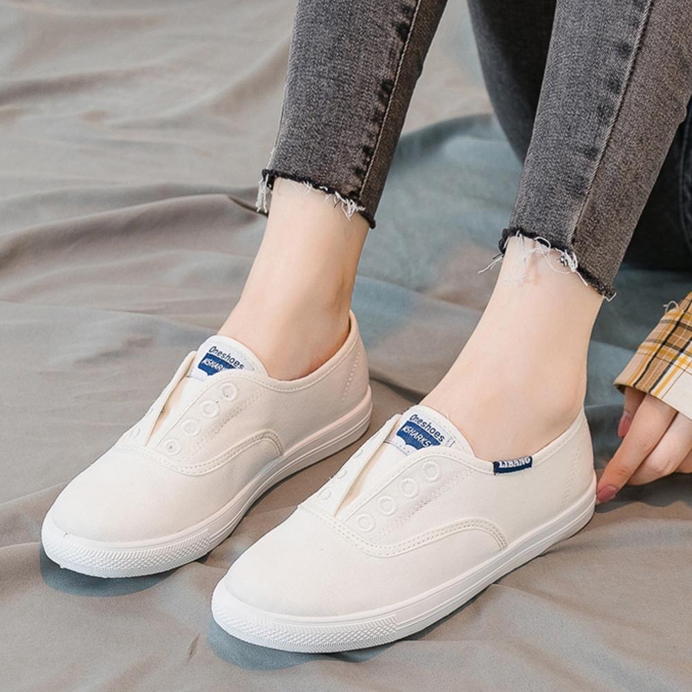 LN 現+預 經典簡約帆布休閒鞋(懶人鞋/小白鞋) (白色)