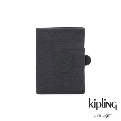 Kipling 都會簡約霧灰色暗釦卡夾-CARD KEEPER