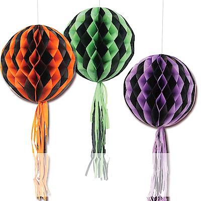 摩達客 萬聖節派對-時尚蜂窩式流蘇紙燈籠圓花球吊飾三入組(紫黑+綠黑+橘黑)