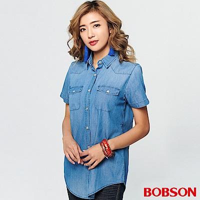 BOBSON 女款印圖薄牛仔布襯衫