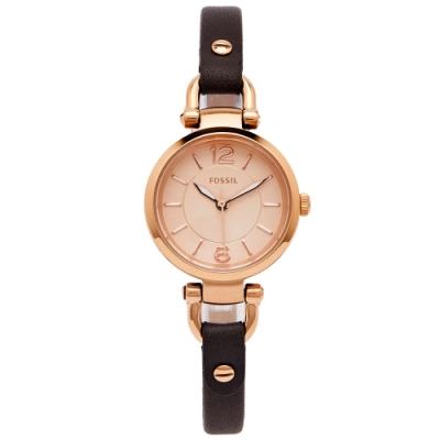 FOSSIL 都會佳人款皮革女性手錶(ES3862)-香檳色面X咖啡色/26mm