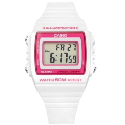 CASIO 卡西歐 計時 LED照明 鬧鈴 電子數位 手錶 桃紅x白 W-215H-7A2 38mm