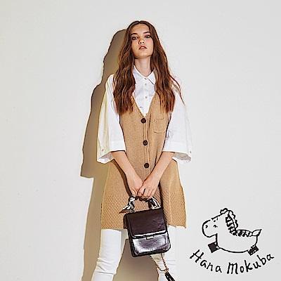 Hana+花木馬 時尚百搭必備單品造型長版羊毛粗針織上衣罩衫-奶茶色