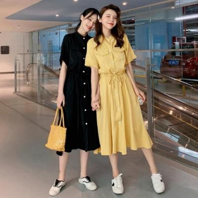 IMStyle 寬鬆版綁繩連身裙 (2色-黃色、黑色)