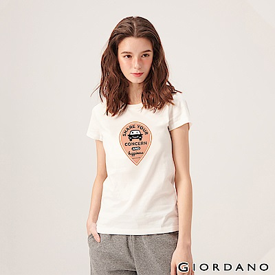 GIORDANO 女裝英文標語印花短袖T恤-49 標誌白
