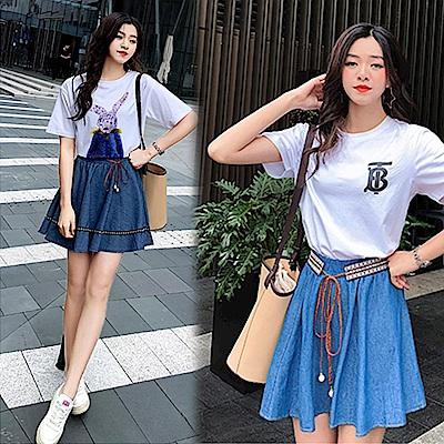 【韓國K.W.】夏氛俏麗動人牛仔風短裙-2色