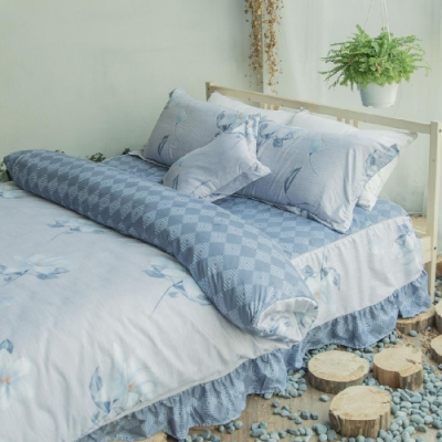 Microban 美國抗菌雙人加大五件式舖棉兩用被床罩組(清芳詩英)