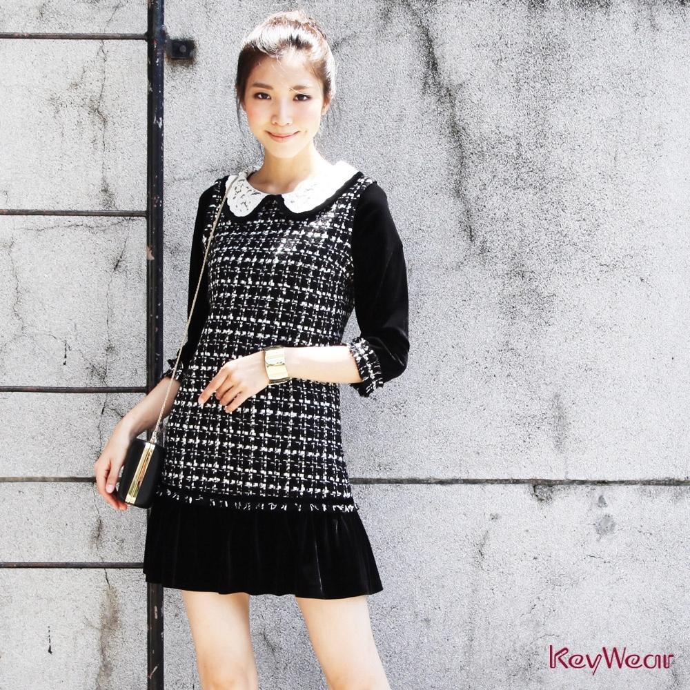KeyWear奇威名品    氣質名媛必備小香風洋裝-黑色