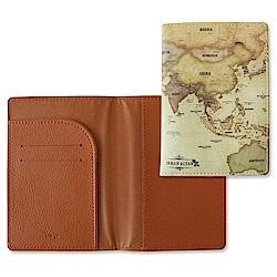 Indigo 世界地圖皮革護照夾-復古棕