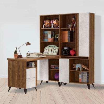 D&T 德泰傢俱 DINO清水模4.6尺組合書櫃加調整書桌-140.5x150x181cm