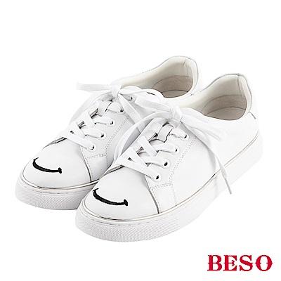 BESO 我的微笑 綁帶休閒鞋~白