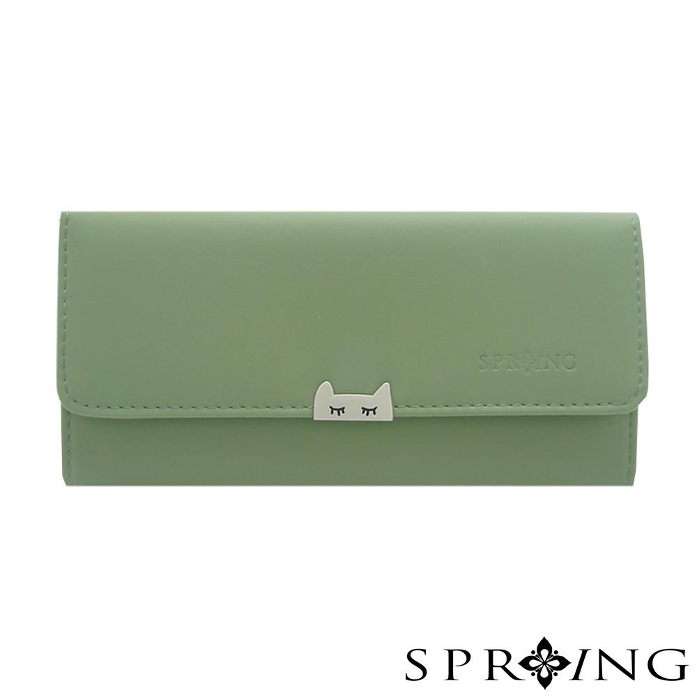 SPRING-晚安貓咪長夾-抹茶綠