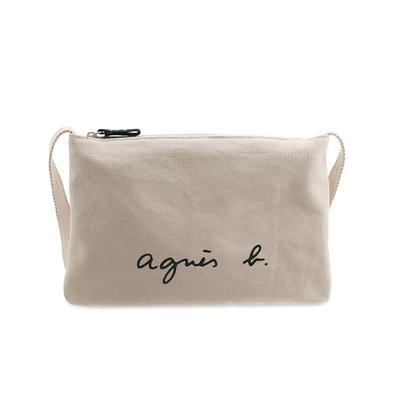 agnes b. Voyage 經典logo帆布肩背包(奶茶色)