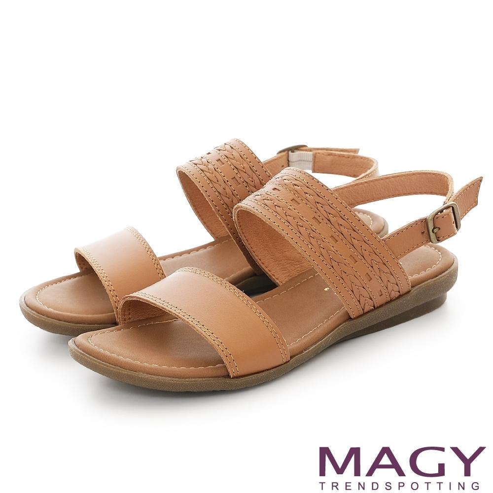 MAGY 雙帶牛皮編織平底涼鞋 棕色