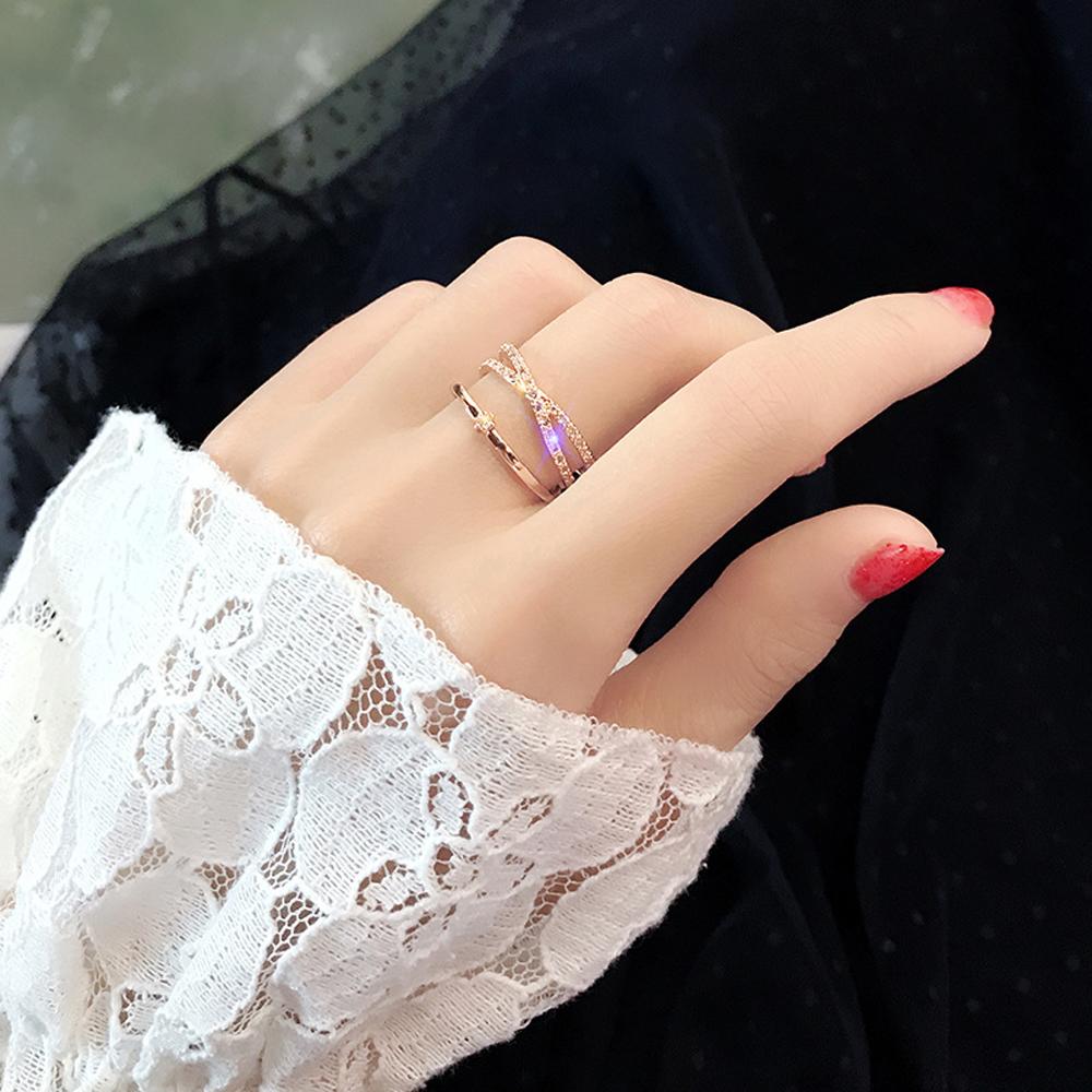 梨花HaNA 韓國小眾雙層視覺精緻水鑽X型戒指