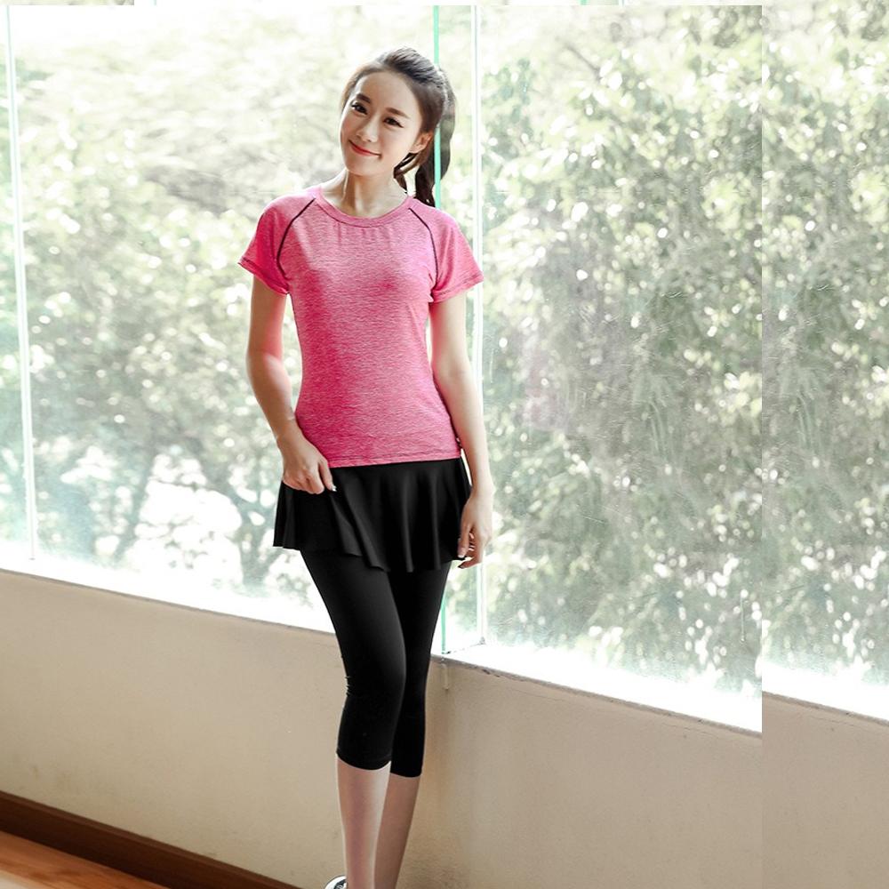 娜美自然假二件式裙式運動褲(單七分褲)M-XL  狐狸姬