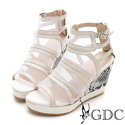 GDC-性感辣妹牛皮網紗拼接時尚高端楔型涼鞋-米色