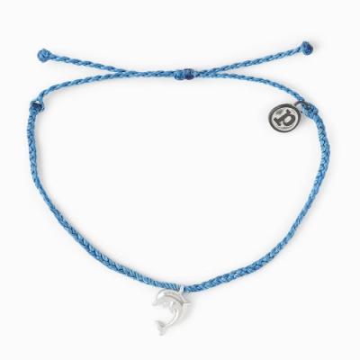 Pura Vida 美國手工 銀色海豚 海軍藍蠟線可調式手鍊衝浪海灘防水手繩