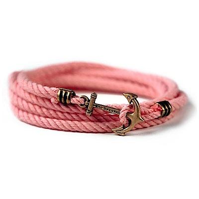 Kiel James Patrick 美國手工船錨棉麻繩多圈手環 粉色纏繞編織