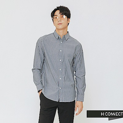 H:CONNECT 韓國品牌 男裝-簡約條紋配色襯衫-黑