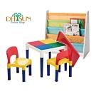 DELSUN岱森城 書報收納架 (南瓜馬車) +積木桌椅組 (繽紛彩虹)
