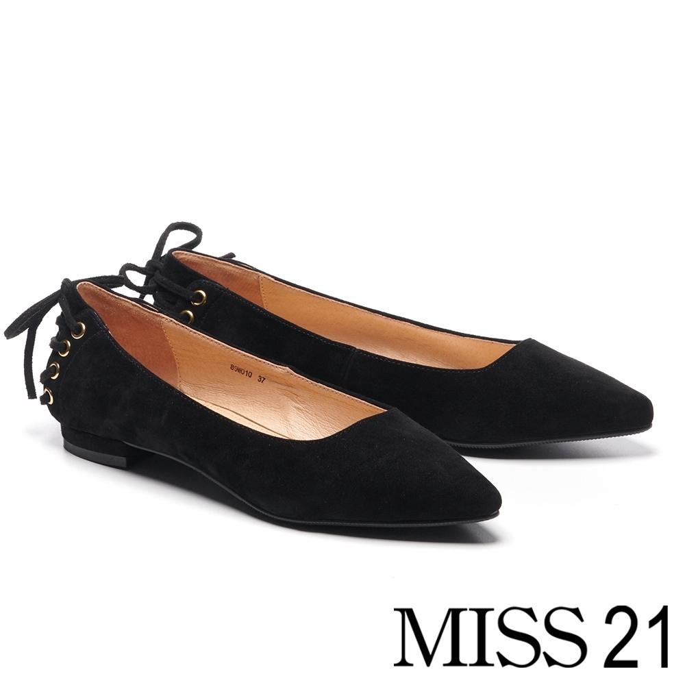 跟鞋 MISS 21 簡約復古後綁帶造型羊麂皮尖頭低跟鞋-黑
