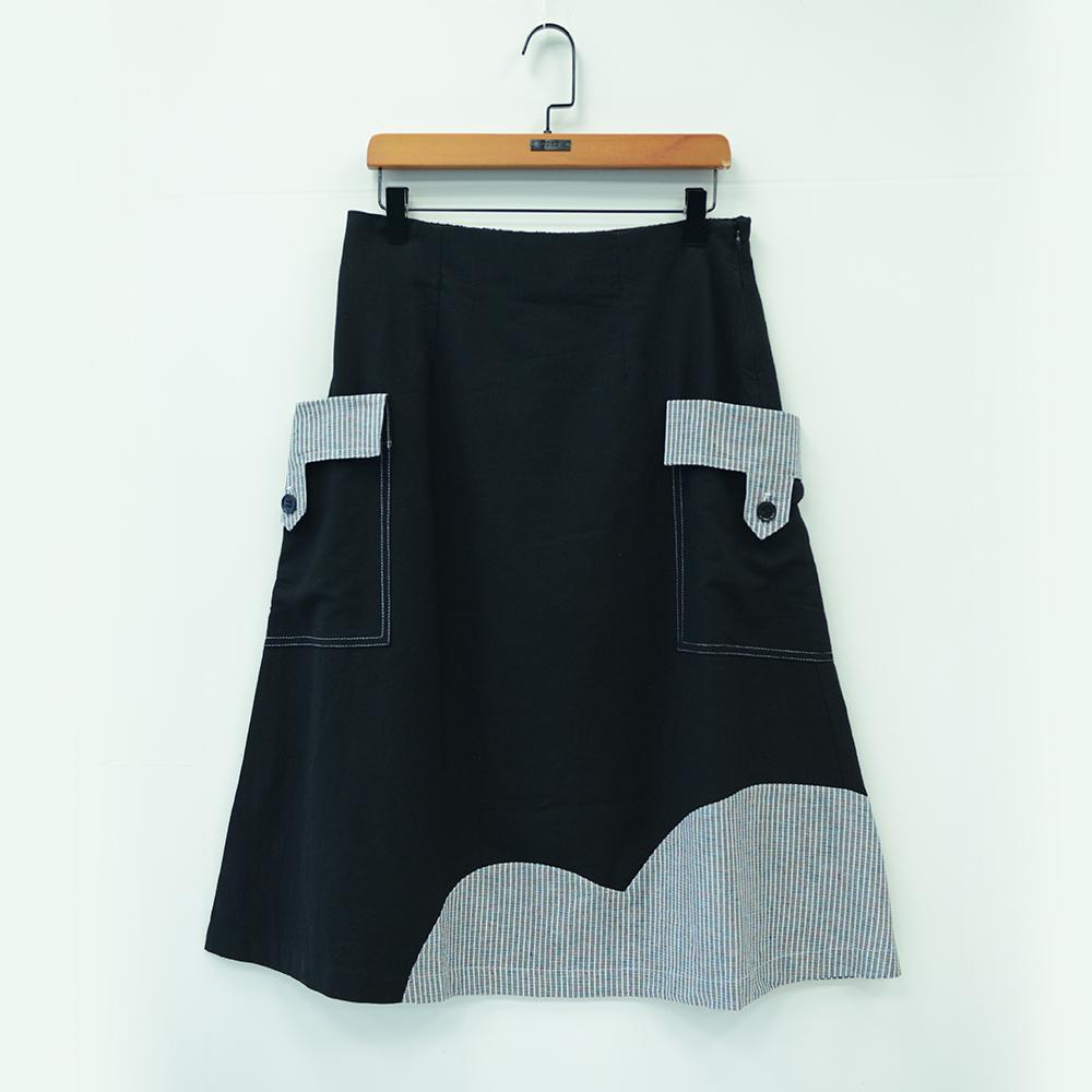 gozo 日系線條拼布造型膝下裙(二色)