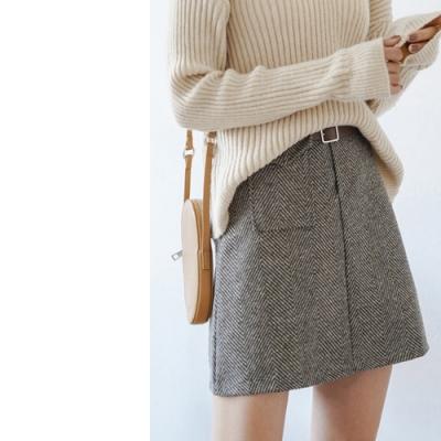 2F韓衣-側邊口袋造型毛呢短裙-秒
