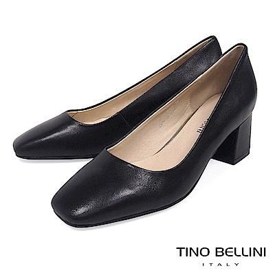 Tino Bellini 簡約原色全真皮方頭跟鞋 _ 黑