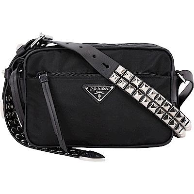 PRADA 黑色皮革鉚釘尼龍肩背/斜背包