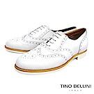 Tino Bellini義大利經典真皮雕花牛津鞋_白