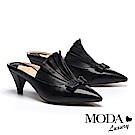 拖鞋 MODA Luxury 自信品味立體抓皺設計尖頭穆勒高跟拖鞋-黑