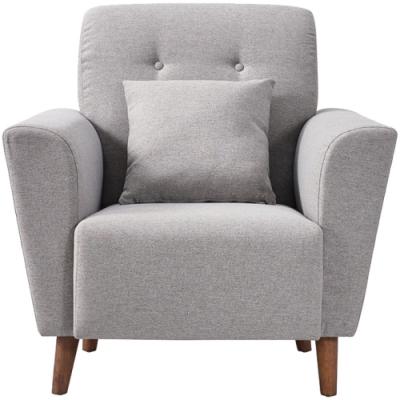 文創集 貝多北歐風單人座棉麻布沙發椅(純粹木語系列+二色)-94x91x95cm免組
