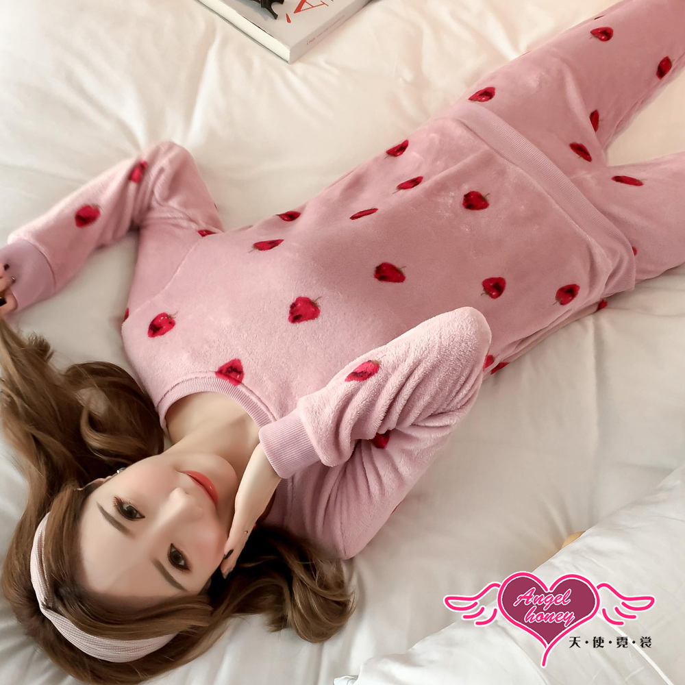 保暖睡衣 莓麗甜心 法蘭絨二件式長袖成套休閒服(深粉F)AngelHoney天使霓裳