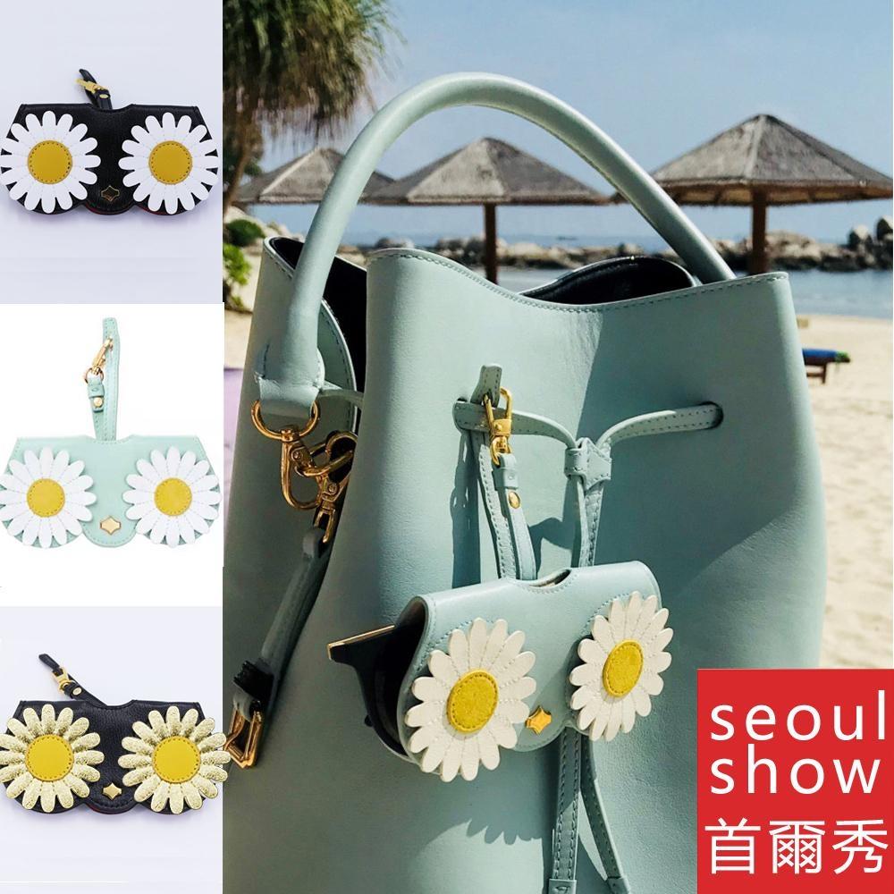 seoul show首爾秀  可愛雛菊外掛墨鏡收納包光學眼鏡保護夾太陽眼鏡盒