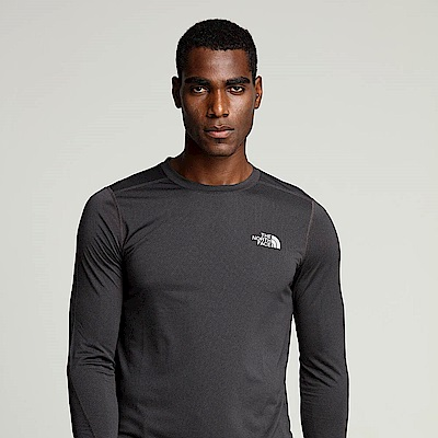 The North Face北面男款黑色吸濕排汗長袖T恤 3RGGKS7