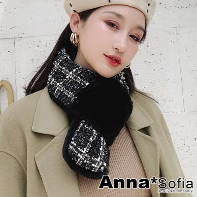 AnnaSofia 日系雙面仿獭兔毛穿叉款 保暖圍脖套圍巾(粗呢亮片格-黑系)