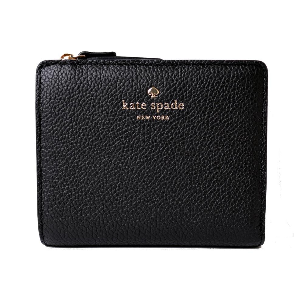 KATE SPADE 燙金荔枝皮革扣式短夾/零錢包-雅緻黑