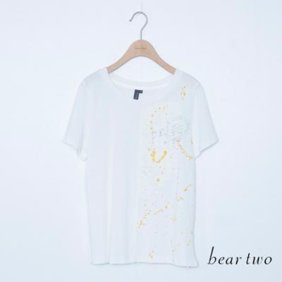 beartwo-拼接潑漆印刷造型上衣-白