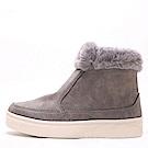 【AIRKOREA韓國空運】暖冬超保暖內鋪毛短筒靴雪靴平底靴-灰