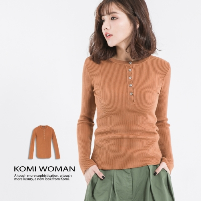 【KOMI】圓領細坑條開釦棉針織上衣 (1577-808177)