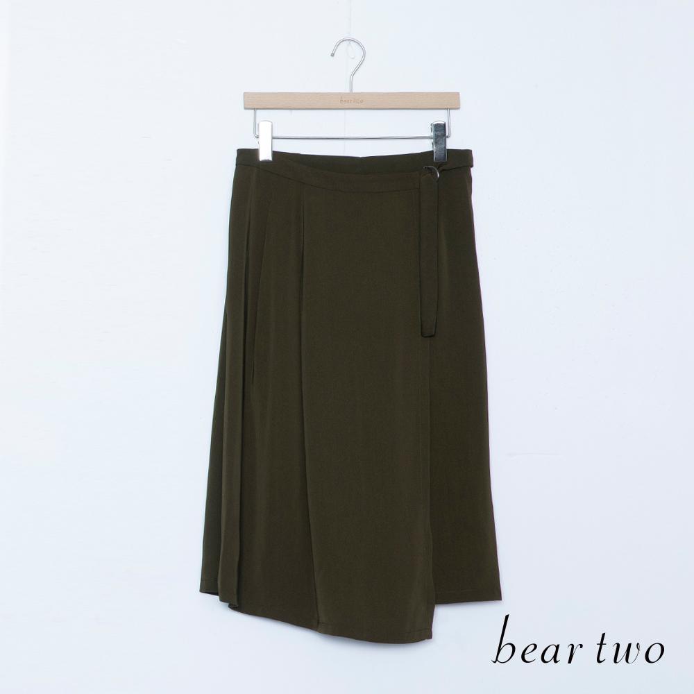 beartwo 素面一片式腰帶寬版褲裙(二色)