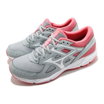 Mizuno 慢跑鞋 Spark 6 輕量 運動 女鞋 美津濃 透氣 舒適 避震 路跑 健身 灰 粉 K1GA210401