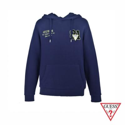 GUESS-男裝-純色雙迷你字母刺繡長袖帽T-紫 原價3990