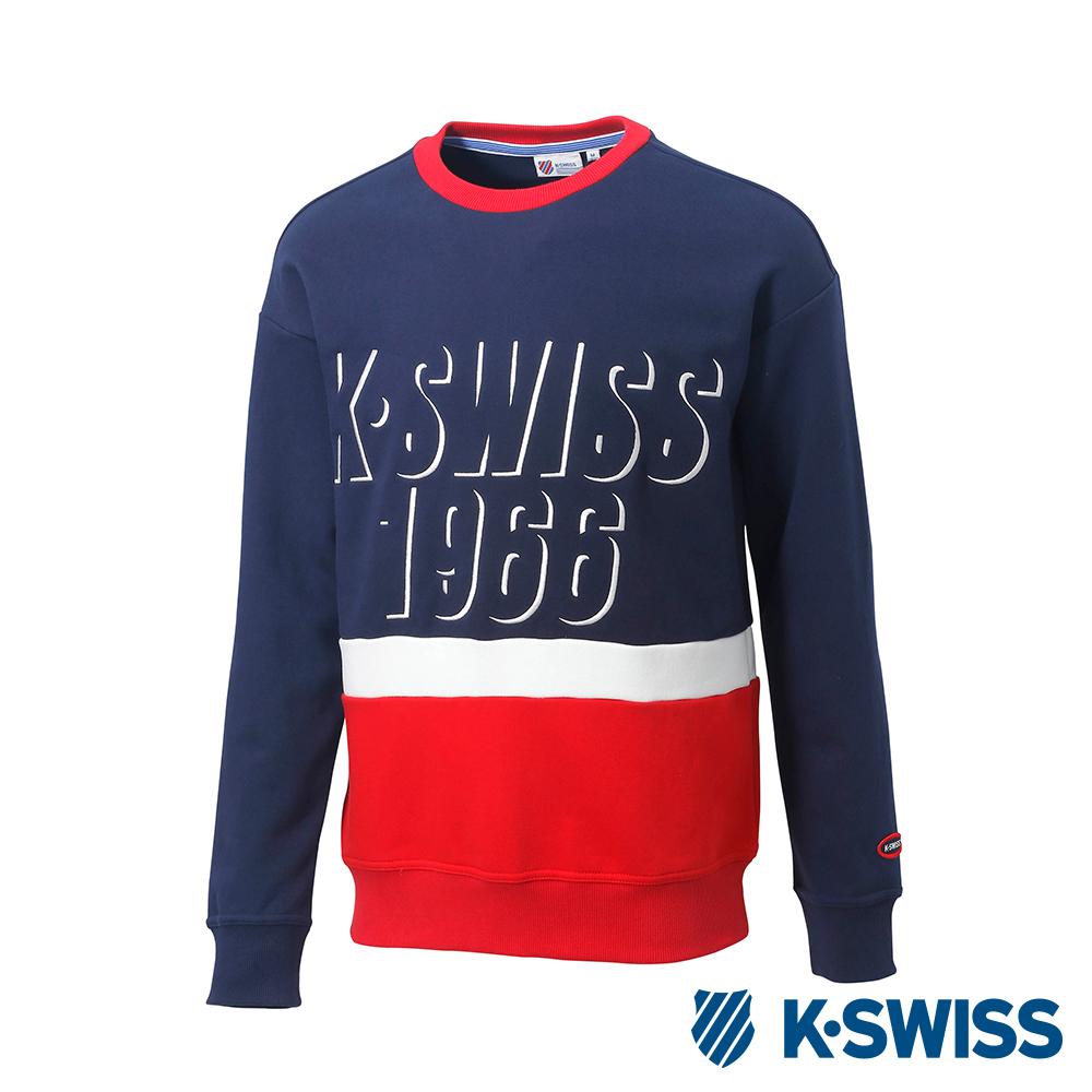 K-SWISS Round Sweat Shirts圓領長袖上衣-男-藍